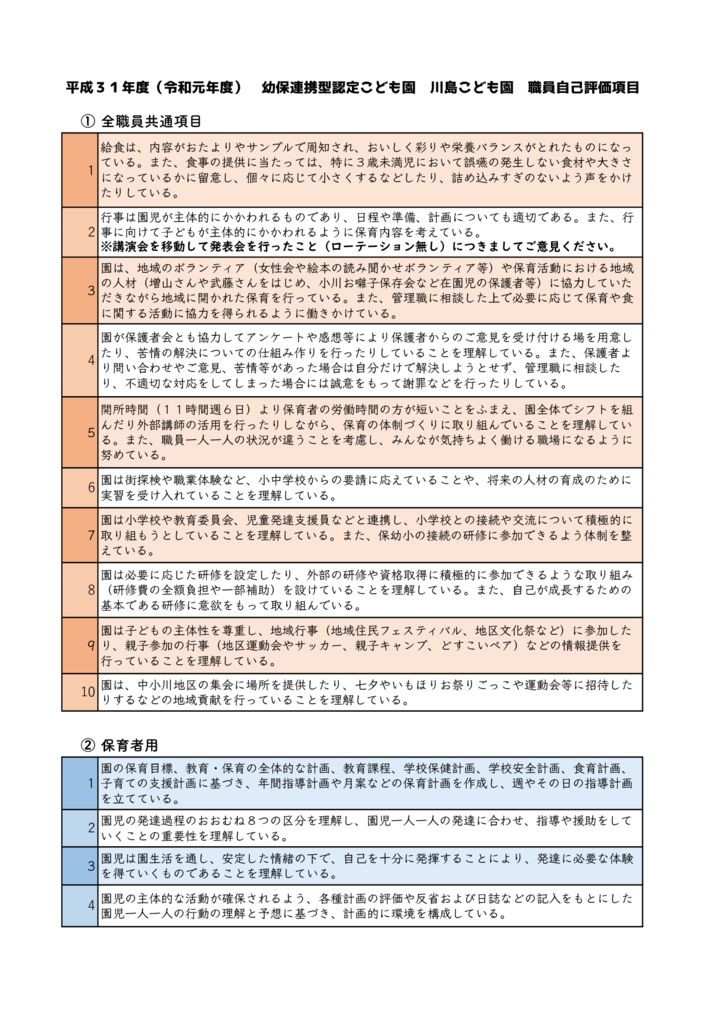 H31(R1)川島こども園自己評価項目のサムネイル